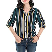 EZEN Womens Slim-Fit Long Sleeve Stretchy Button Down Collar Office Formal Casual Shirt Blouse (Large, Stripe Green)
