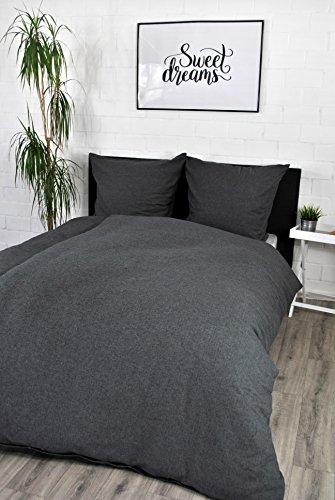 jilda-tex Biber Bettwäsche Melange 135x200 cm + 80x80 cm 100% Baumwolle Feinbiberbettwäsche Edel-Flanell Verschiedene Größen/Farben (Fischgräte, 135 x 200 cm)