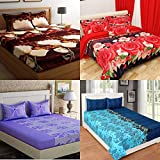 RS Home Furnishing Glace Cotton Double Bedsheet with 8 Pillow Covers (Multicolour, rscombo04) - Set of 4
