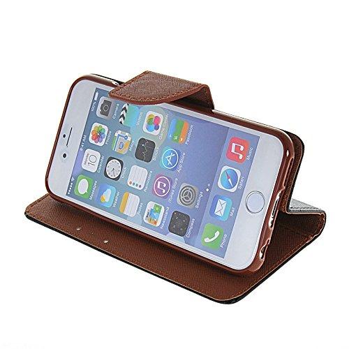 MOONCASE Leder Tasche Flip Case Cover Schutzhülle Etui Hülle Schale Für Apple iPhone 6 Plus Rosa Schwarz