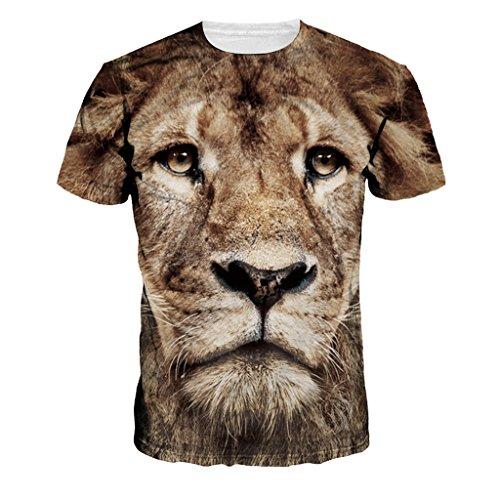 Jiayiqi Coole Lion Gesicht Voll Drucken T-Shirt Sommer Kleidung Für Paar Geliebter (Tiere Geliebte)