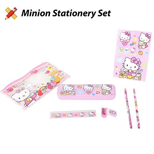 Hello Kitty Pencil Case, Compass Box, Stationery Set, 8 Piece Set