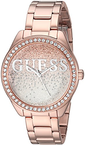 GUESS Women's Stainless Steel Crystal Casual Watch, Color Rose Gold-Tone (Model: U0987L3)