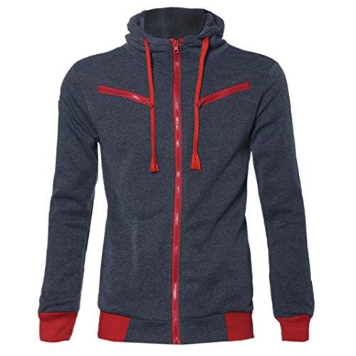 FEITONG TOP Detalles de los hombres del estilo adelgazan Sudadera con capucha de la cremallera Outwear la chaqueta de la capa del suéter (M, gris oscuro)