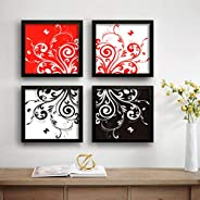 SAF Flower Designer Set of 4 UV Textured Painting (19 x 19 Inches, SAF_SET4_3)
