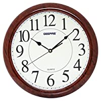 Geepas GWC4804 Luminous Dial Wall Clock, White and Brown