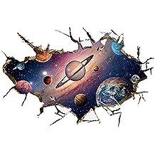 Winhappyhome Planeta del universo pegatinas de arte de la pared para niños dormitorio sala de TV Nursery Antecedentes extraíble decoración adhesivos