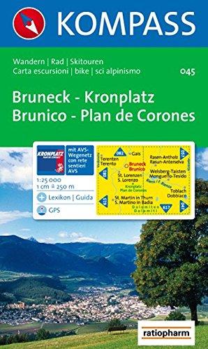 Carta escursionistica n. 045. Brunico. Plan de Corones 1:25.000