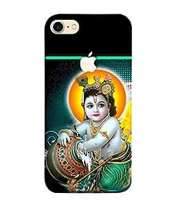 PrintVisa Designer Back Case Cover for Apple iPhone 7 (Logo Cut Case) (bal krishan makhan chor leela)