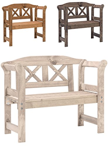 Bomi® Massive Gartenbank Kinder Holz Nala | Kinder Gartenmöbel | Garten Sitzbank Outdoor, Holzbank 2 Sitzer Natur | Baby Sitzmöbel für Garten, Terrasse, Balkon
