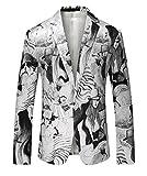 Herren-Weiß gedruckt beiläufige Blazer-Jacken-One Button Slim Fit DE 48 (Asian 3XL)