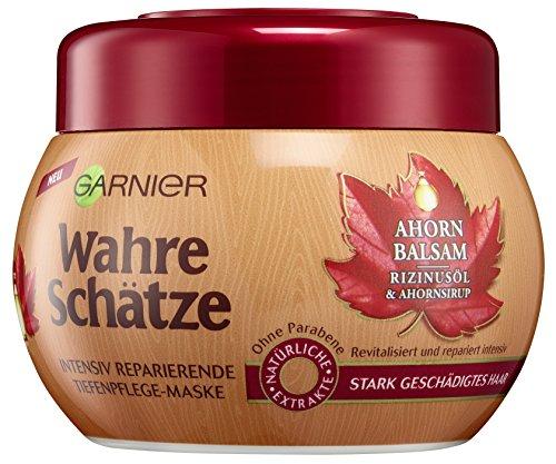Garnier Wahre Schätze Ahorn Balsam & Rizinusöl, Intensiv reparierende Tiefenpflege-Maske, für stark geschädigtes Haar, 6er-Pack (6 x 300 ml) -
