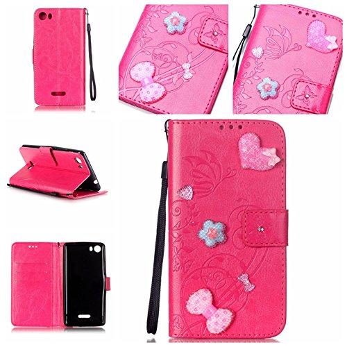 Handyhülle für Wiko Fever 4G, BONROY® PU Leder Hülle Flip Case Booklet Geldbörse mit Standfunktion, Kartenfach & Weich TPU Innere - Pink Love Heart