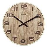 Sundlight Wall Clock 14inch Bentwood Clock Silent Quartz Decorative Wall Clock Non-ticking Digital