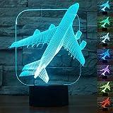 ToyHero Avion Veilleuse 3D 7 Couleurs Bureau d'illusion LED Lampe de Table Interrupteur Tactile Alimenté par USB Lampe d'Avion pour Les Garçons et les Filles Décoration de la Chambre