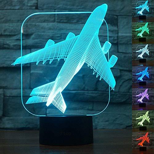 ToyHero® Avion Veilleuse 3D 7 Couleurs Bureau d'illusion LED Lampe de Table Interrupteur Tactile Alimenté par USB Lampe d'Avion pour Les Garçons et les Filles Décoration de la Chambre