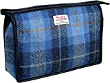 Vagabond Bags Harris Tweed Blue Check Large Holdall Bag Kulturtasche, 28 cm, Blau (Mid Blue)