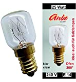 2 Stück Glühbirne E14 - 25 Watt Spezial-Leuchtmittel für Salzlampe und Backofen.(4931)