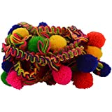 Goelx Pom Pom Fashion Laces Trims For Borders And Craft. Bundle Pack- 5 Meters