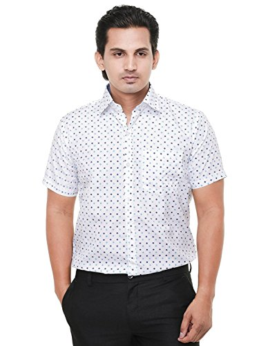 Twist Men's Arrow Printed Regular Fit Semi Formal Shirt (Size: M to XL) (Plus size : XXL,XXXL,3XL) (White, Small)  available at amazon for Rs.399