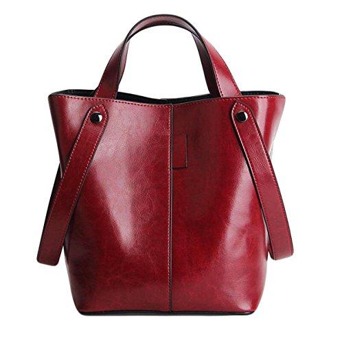 L'Europa E Gli Stati Uniti Borse In Pelle Vento Borsa Secchio Sacchetto Borsa Messenger Bag Sacchetto Bicolore Bicomponente Cera Red