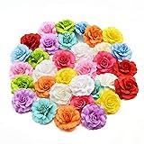 AZXU Fleurs en Soie artificielles en Gros pour décoration de Mariage, Couronne Cadeau, Scrapbooking, Artisanat, 30 pièces par lot 4,5 cm
