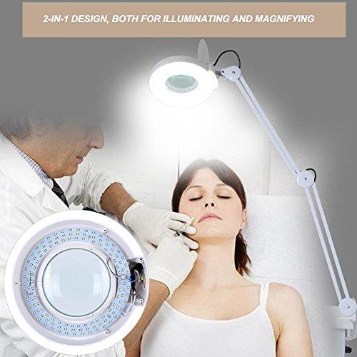 Lampada/luce/LED con lente d\'ingrandimento, 8 diottrie,per esteista,esteticia,laboratorio e lavori di precisione ingrandimento (bianco 8X, style 1)