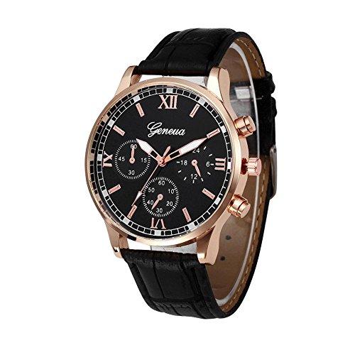 DAY.LIN Uhren Retro Design Lederband analoge Legierung Quarz-Armbanduhr (Schwarz)