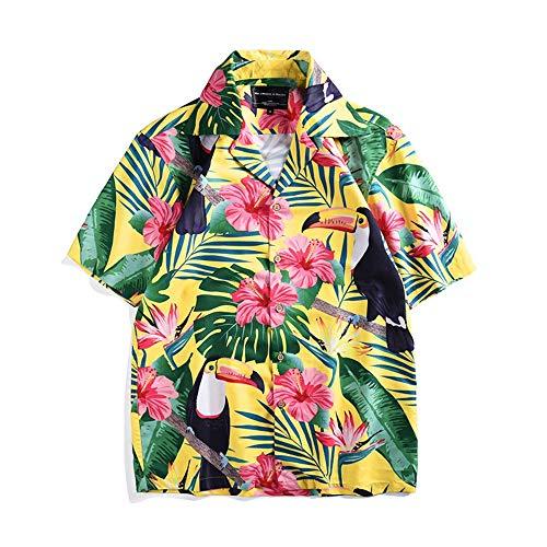 Y-clothing Das Hemd der Männer Funky Hawaiian Shirt für Männer Kurzarm Casual Button Down Kleine Blume Gentleman lässig geschnittenes Hemd (Farbe : Photo Color, Größe : M) - Kunden-service-telefon-nummer