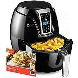 Balter Fritteuse à air chaud électrique sans huile ✓écran tactile ✓recettes gratuites ✓ 7 programmes prédéfinis ✓cuve amovible 4,6l ✓grande capacité XXL✓convient au lave-vaisselle ✓noir