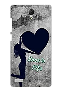 AMAN Love Is Life (Black&White) 3D Back Cover for Xiaomi Redmi Note Prime