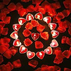 Idea Regalo - Bdecoll Romantico di San Valentino,1000 Petali di Rosa | 50 Candele Rosse a Forma di Cuore Romantiche Piccole Profumate per Eventi Matrimoni Anniversari Cerimonie