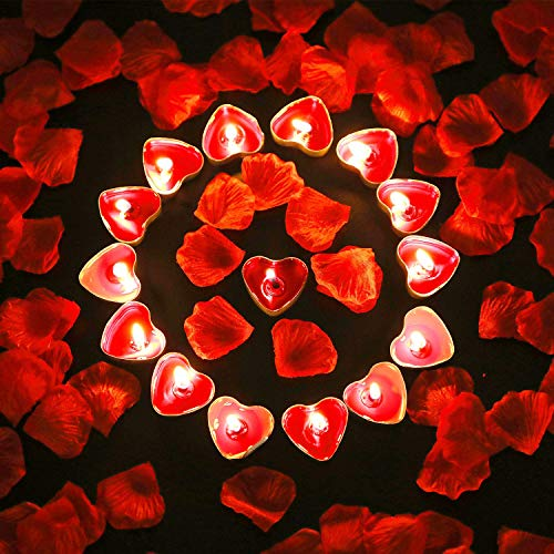 Bdecoll Tischdekoration Valentinstag,Liebeskerzen Kerzen rauchfreie Teelicht | 1000Seide Rosen Blätter Romantische Atmosphäre und Hochzeit, Geburt, Taufe, Valentinstag, Geburtstag Party Dekoration
