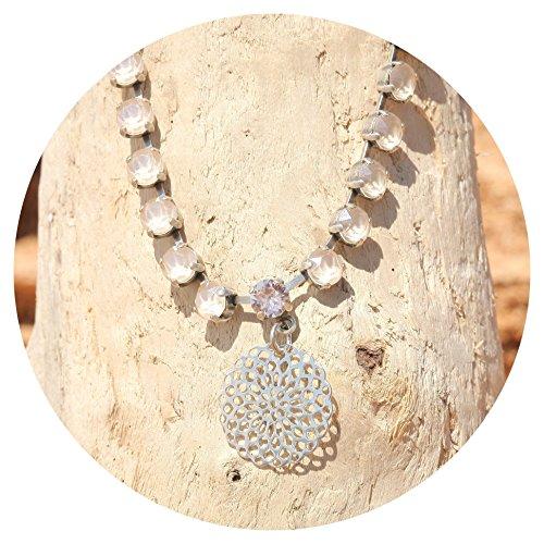 artjany Collier mandala swarovski kristalle royal ivory silber