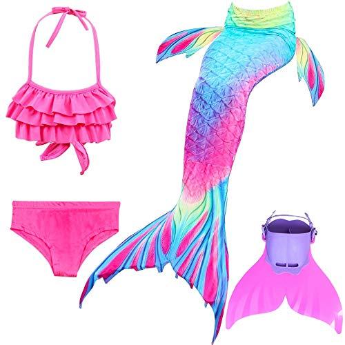KJGFD Meerjungfrauenschwanz Zum Schwimmen Flosse mit Meerjungfrau Flosse- Prinzessin Cosplay Bademode für das Schwimmen mit Bikini Set und Monoflosse, 4 Stück Set,150 (Zum Schwimmen Meerjungfrauenschwanz Kostüm)