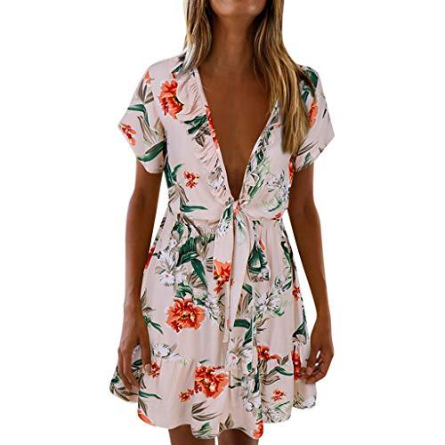 LILIGOD Damen V-Ausschnitt Kurzarm Kleid Frauen Sexy Party Mini Dress Print Sommer Blumig Kurzes Kleid Elegant Cocktail Abendkleid Freizeit Outdoor Strand Minikleid Rock