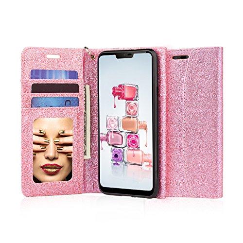 J & D LG G7Fall, [Glitzernde] [Spiegel Funktion] [RFID-blockierender] Sparkling Heavy Duty Schutz stoßfest Flip Cover Wallet Case mit Kartenschlitzen und Make-up Spiegel für LG G7–[nicht für LG G6] rose