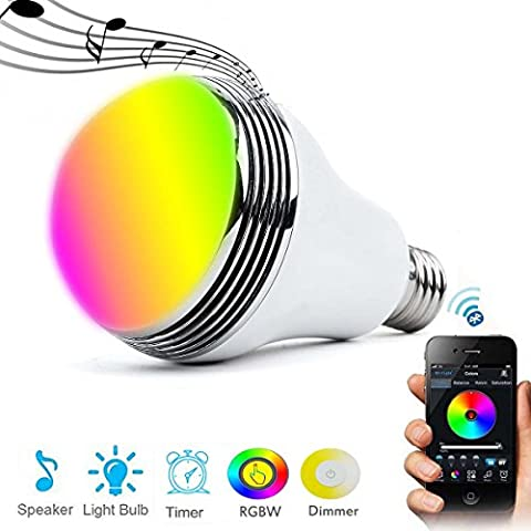 Autai Smart Bulb Bluetooth Speaker Music Bulb Dimmable RGBW 6W E27/E26 LED Light Bulb Free APP for Smart Phone(Pack of 1)
