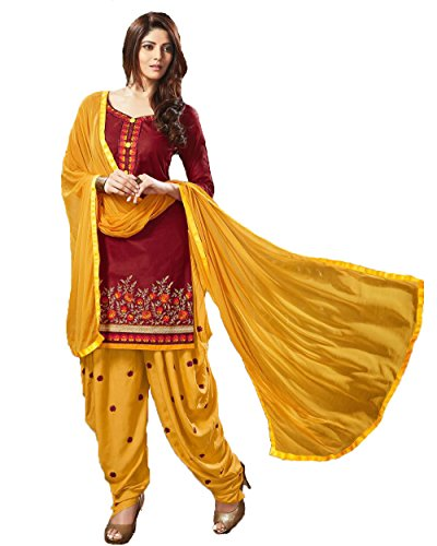 Fkart Women\'s Maroon Embroidered Cotton Semi Stitched Patiala Suit With Dupatta