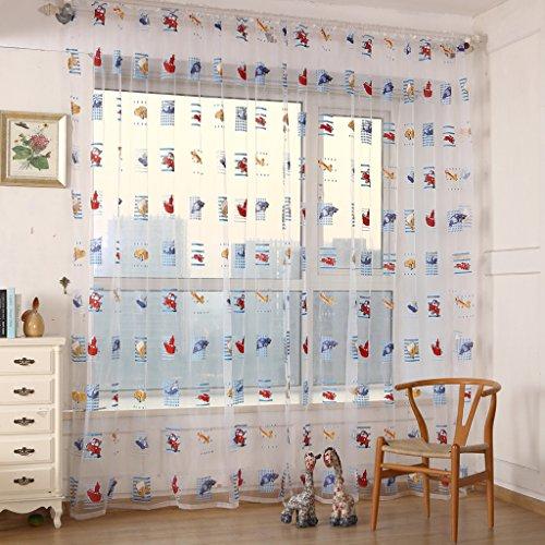 2 Stück Auto Druck Kinderzimmer Vorhang Garn für Schlafzimmer Gardine