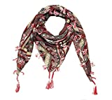 #3: Evince MODE maroon stylish premium polyester printed square scarf with tassels for women and girls