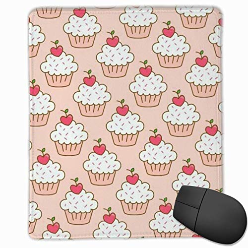 Cherry Cupcakes Rectangle Non-Slip Rubber Mouse Pad with Stitched Edges