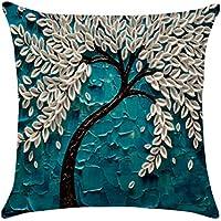 WINOMO Pintura al óleo árbol grande almohada de flores planas impresas 3D algodón lino funda de cojín fundas de colchón Inicio sofá decorativo 45x45cm (Pachira)