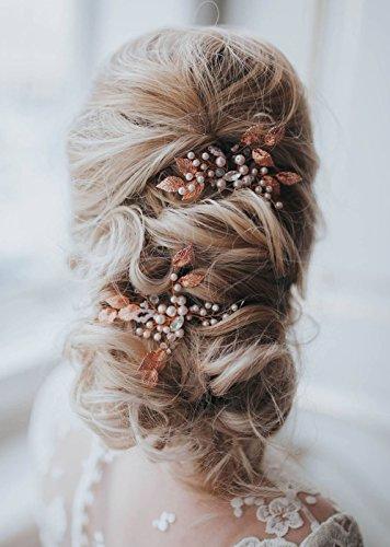 Gracewedding Brautschmuck, Roségold Kristall-Haarnadeln für Damen, Kopfschmuck für Hochzeiten, Haar-Accessories, Braut-Haarschmuck, Vintage-Schmuck für Party und Abend, 2Stück