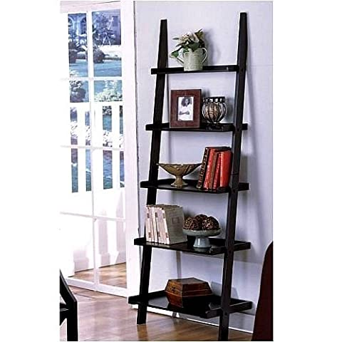 """1 X Unique 72"""" High LEANING LADDER STYLE MAGAZINE / BOOK SHELF on Black Finish by The Decor Collection"""