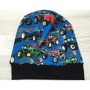 Beanie Mütze Trecker blau Digitaldruck Kopfumfang 48-53 cm gefüttert
