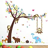 Cartoon Monkey Tree Jungle Animals Theme Wall Art Decal Sticker Mural Decoration for Living Room Nursery Baby Girl Boy Kid Children's Room Bedroom Decoration (E)