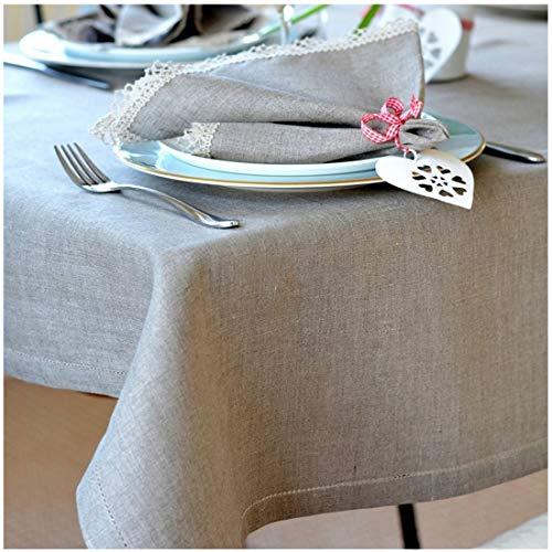 Linen & Cotton Nappe de Luxe en Lin Ajouree Florence, 100% Lin - 143 x 250cm (Naturel/Beige)