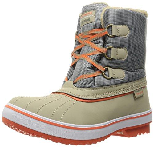 Skechers Women's Highlanders-Polar Bear Winter Boot, Taupe/Grey/Orange, 6.5 M US - Womens Polar Bear