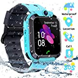 Smartwatch Kinder Tracker Kids Waterproof Kinderuhr Telefon mit SOS Voice Chat Uhr für Kinder(Blue)